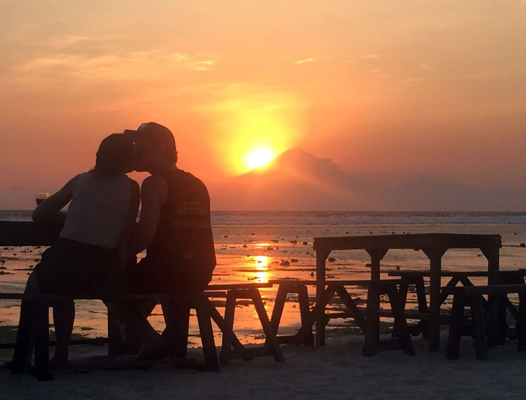 Gili T sunset with Bali on the background