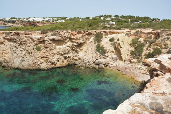 View of Cala Llentia from the top of the cliff