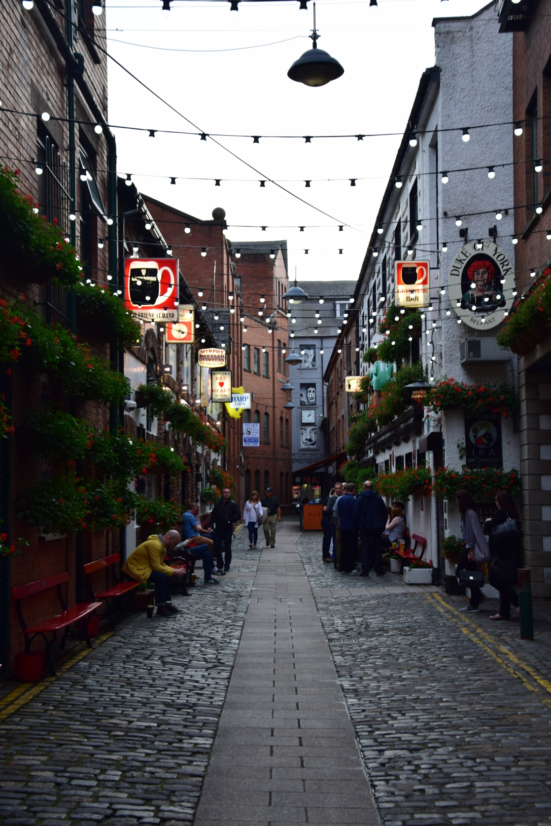 Narrow street within the Cathedral Quarter in Belfast