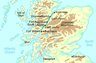 Great Glen Way Map - Provided by Contours.co.uk